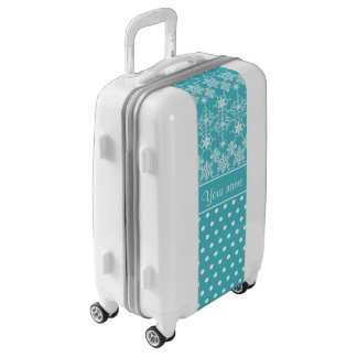 Modern Snowflakes Polka Dots Personalized Luggage