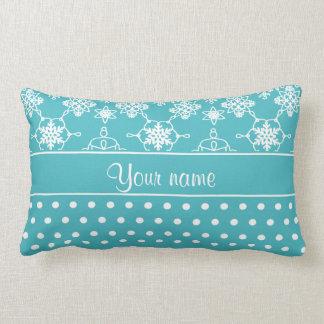 Modern Snowflakes Polka Dots Personalized Lumbar Pillow