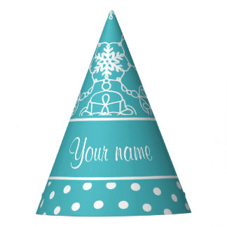 Modern Snowflakes Polka Dots Personalized Party Hat