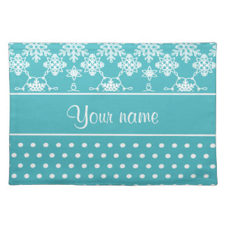 Modern Snowflakes Polka Dots Personalized Placemat