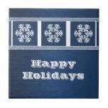Modern Snowflakes Tile, Blue