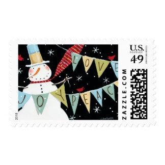 Modern Snowmen Love, Joy, Peace Postage Stamps
