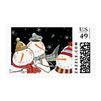Modern Snowmen Smiles Postage Stamp