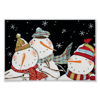 Modern Snowmen Smiles Poster