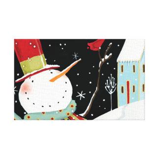 Modern Snowmen Winter Home Canvas Print