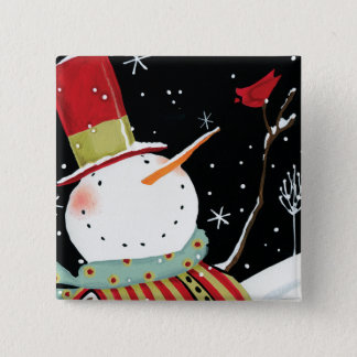 Modern Snowmen Winter Home Pinback Button