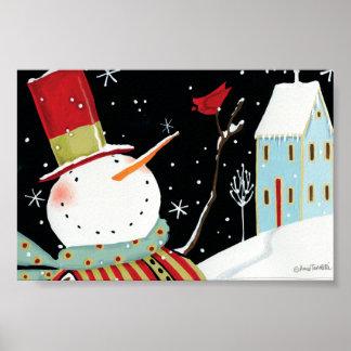 Modern Snowmen Winter Home Poster