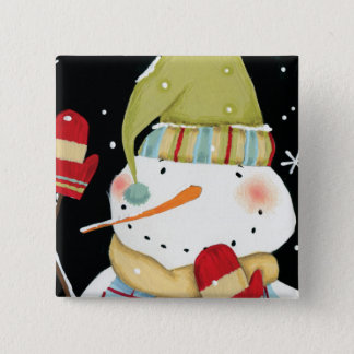 Modern Snowmen with Mittens Button