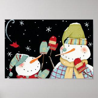 Modern Snowmen with Mittens Poster