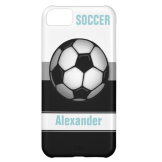 Modern Soccer Ball blue personalized iPhone 5 Case