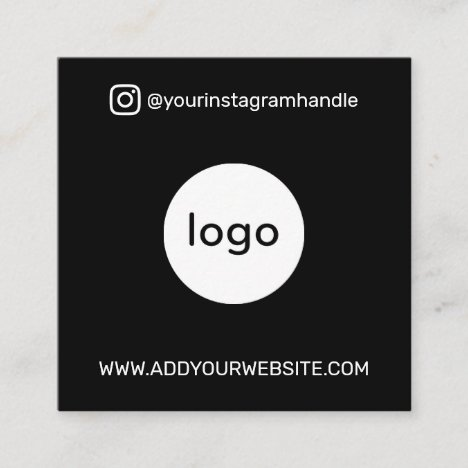 Modern social media add your logo photo QR code Square Business Card