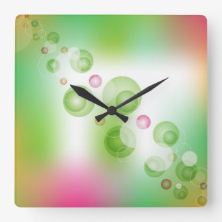 Modern soft colorful design with dots square wall clock