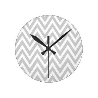 Modern soft gray white chevron zigzag clock