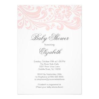 Modern Soft Pink Floral Swirl Baby Shower Invitation