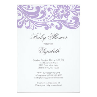 Modern Soft Purple Floral Swirl Baby Shower 5x7 Paper Invitation Card