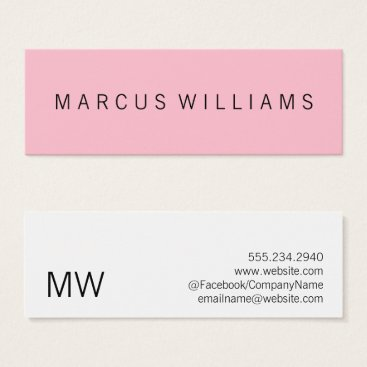 Lawyer Themed Modern Sophisticated Pink Mini Business Card