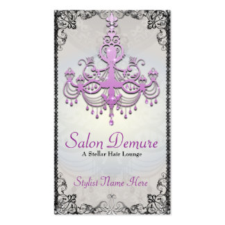 Modern Sophisticated Silver Purple Designer Salon Business Card Templates