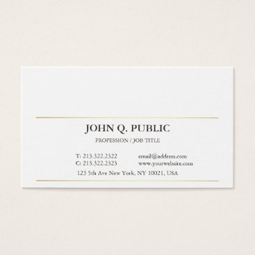 Lawyer Themed Modern Sophisticated Simple Plain Gold Striped Business Card