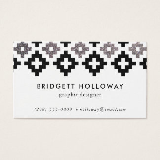 modern southwest blanket black faux silver glitter business card - Southwest Business Card