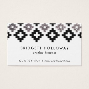 Aztec Themed Modern Southwest Blanket Black Faux Silver Glitter Business Card