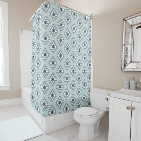 Modern Southwest Pattern Navy Mint Shower Curtain