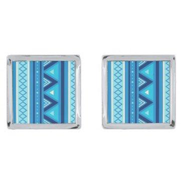 Aztec Themed Modern Southwestern Geometric, Blue & Turquoise Cufflinks