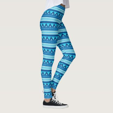 Aztec Themed Modern Southwestern Geometric, Blue & Turquoise Leggings