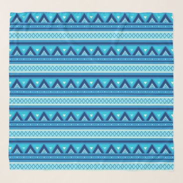 Aztec Themed Modern Southwestern Geometric, Blue & Turquoise Scarf