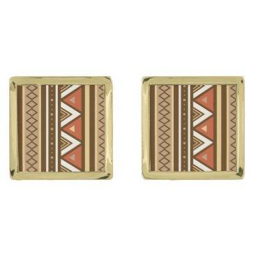 Aztec Themed Modern Southwestern Geometric, Brown, Tan & Rust Gold Cufflinks