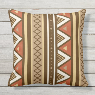 Modern Southwestern Geometric, Brown, Tan & Rust Outdoor Pillow