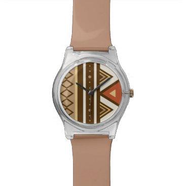 Modern Southwestern Geometric, Brown, Tan & Rust Wrist Watch