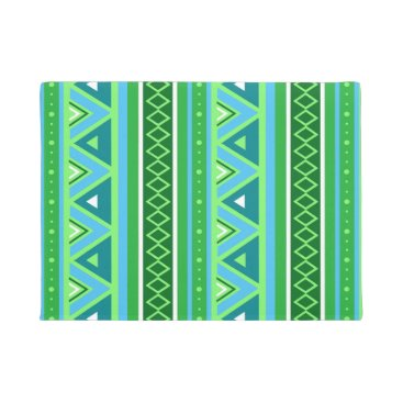 Aztec Themed Modern Southwestern Geometric, Green and Aqua Doormat