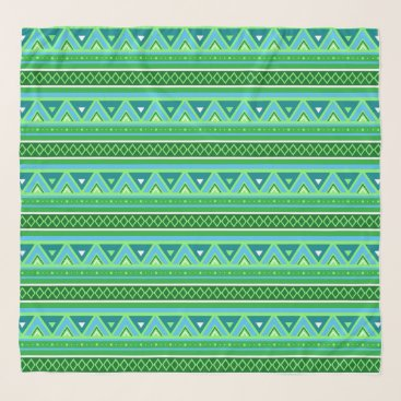 Aztec Themed Modern Southwestern Geometric, Green and Aqua Scarf