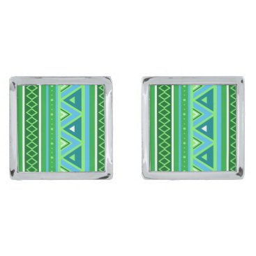 Aztec Themed Modern Southwestern Geometric, Green and Aqua Silver Cufflinks
