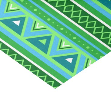 Aztec Themed Modern Southwestern Geometric, Green and Aqua Tissue Paper
