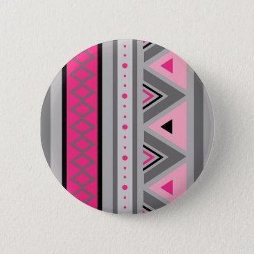 Aztec Themed Modern Southwestern Geometric, Pink and Gray Pinback Button