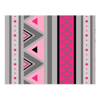Modern Southwestern Geometric, Pink and Gray Postcard