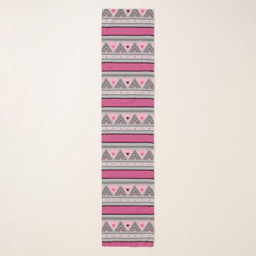 Aztec Themed Modern Southwestern Geometric, Pink and Gray Scarf