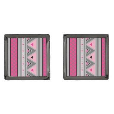 Aztec Themed Modern Southwestern Geometric, Pink & Gray / Grey Cufflinks