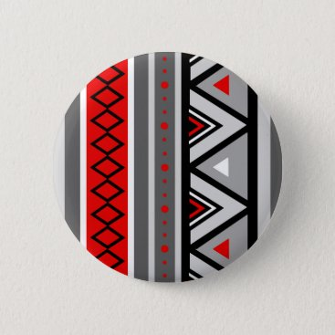 Aztec Themed Modern Southwestern Geometric, Red & Gray / Grey Button