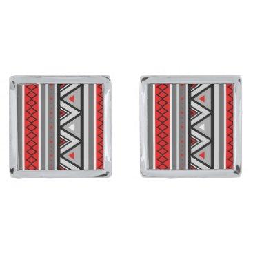 Aztec Themed Modern Southwestern Geometric, Red & Gray / Grey Cufflinks