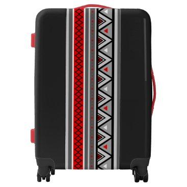 Aztec Themed Modern Southwestern Geometric, Red & Gray / Grey Luggage