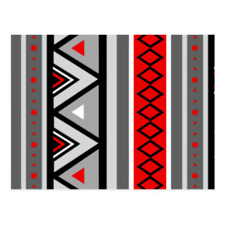 Modern Southwestern Geometric, Red & Gray / Grey Postcard