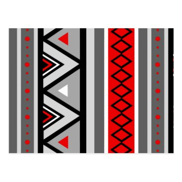 Aztec Themed Modern Southwestern Geometric, Red & Gray / Grey Postcard