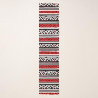 Modern Southwestern Geometric, Red & Gray / Grey Scarf