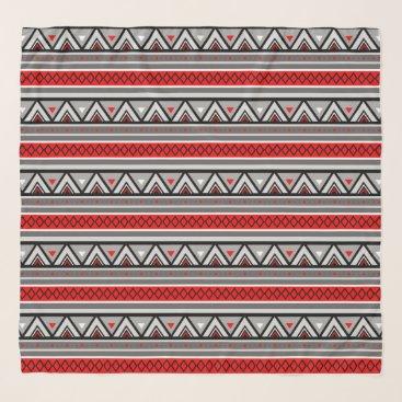 Aztec Themed Modern Southwestern Geometric, Red & Gray / Grey Scarf