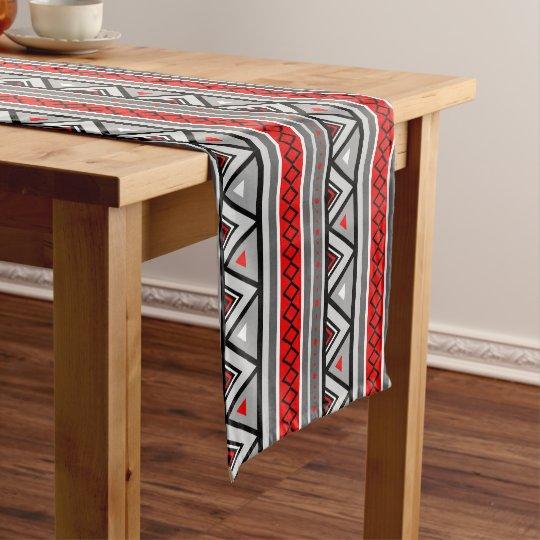 Modern Southwestern Geometric Red Gray Grey Short Table Runner
