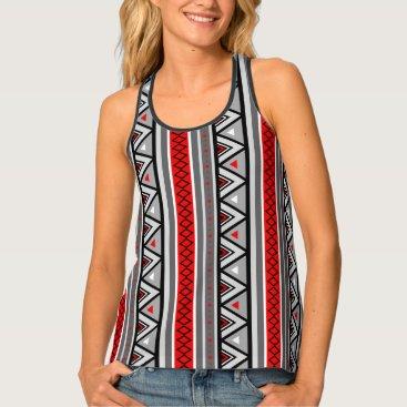 Aztec Themed Modern Southwestern Geometric, Red & Gray / Grey Tank Top