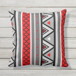 Modern Southwestern Geometric, Red & Gray / Grey Throw Pillow