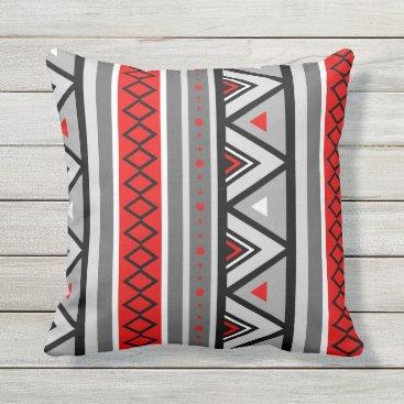 Aztec Themed Modern Southwestern Geometric, Red & Gray / Grey Throw Pillow